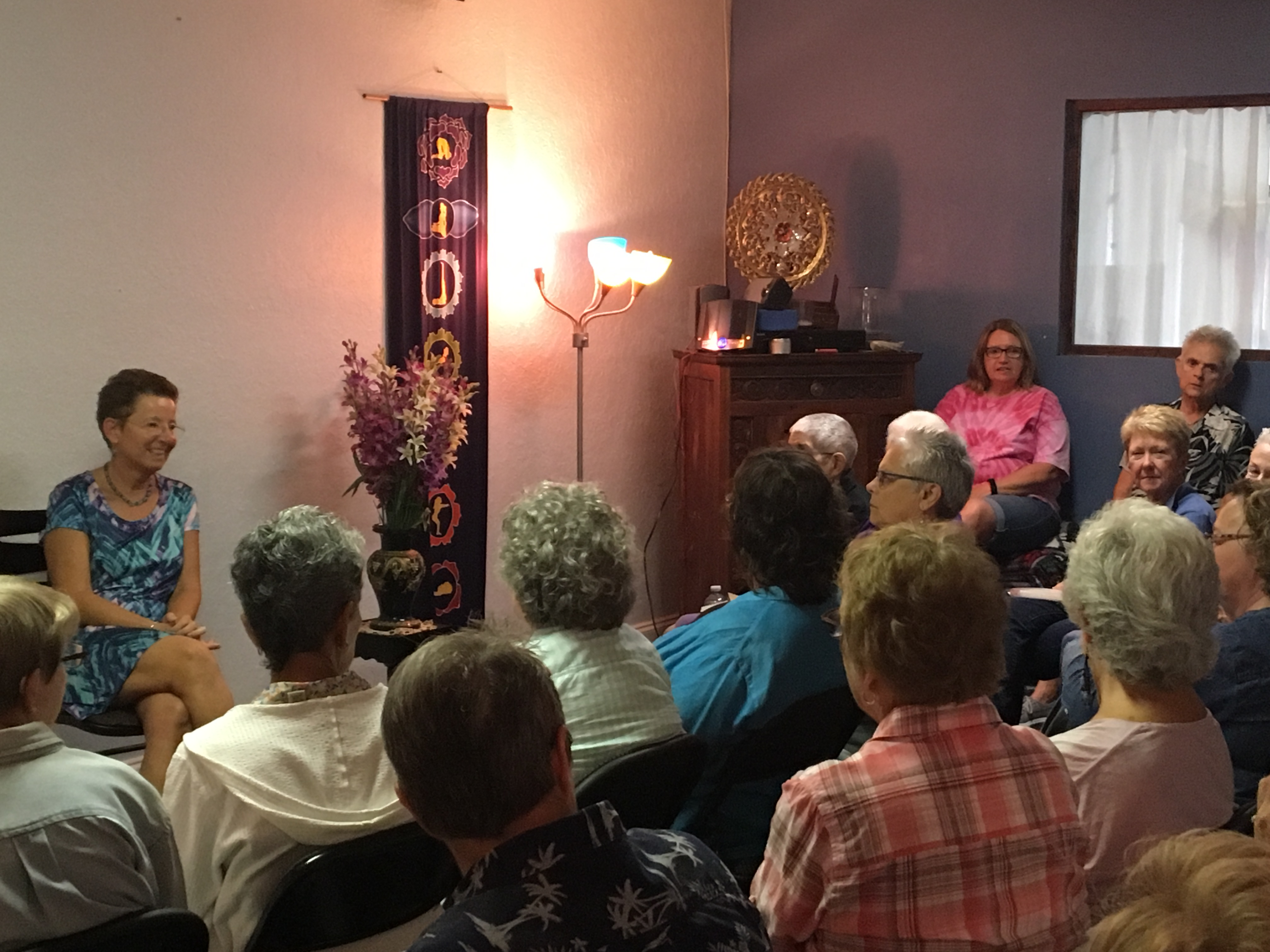 Alison and audience at book signing
