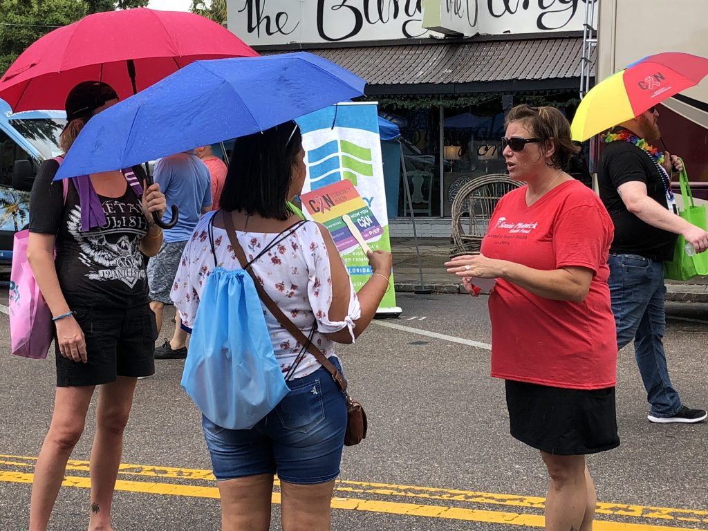Speaking with women at St Pete Pride
